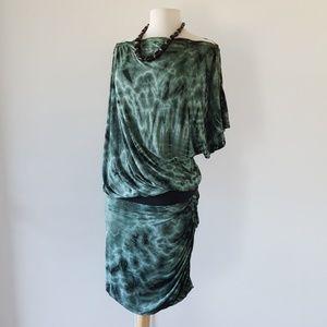 YFB Zip Shoulder Stretch Waist Tie Dye Emerald